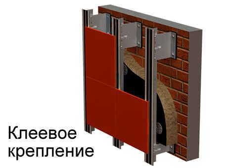 Клеевое крепление на алюминиевой подсистеме для керамогранита